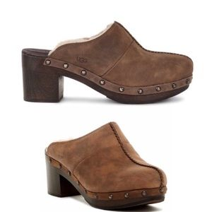 UGG Chocolate Brown Leather Kassi Mule Clogs